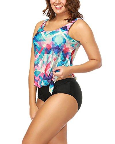Señoras Conjunto De Bikini Separable Sporty Swimsuits Dos Piezas Swimwear Soft Wicking Confort Elástico Top Tankini XL