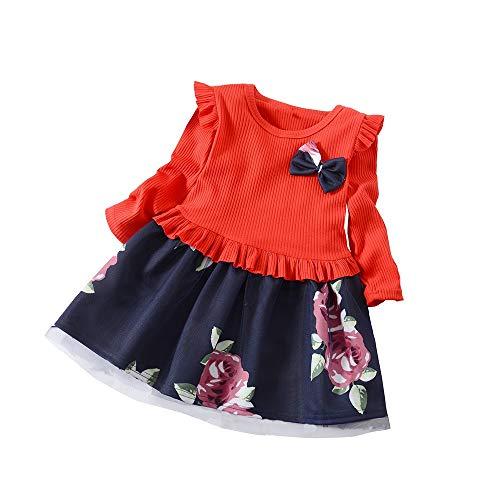LANSKIRT Ropa de Recién Nacido Infantil bebé niñas Vestido Estampado de Flores del Arco Princesa Vestido de Manga Larga Otoño e Invierno Jumpsuit (1_Amarillo, 18-24 Mes)