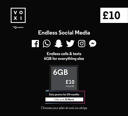 Vodafone, VOXI SIM-Karte, endlose soziale Daten, Anrufe, SMS-Roaming (VOXI ist das Mobilnetz der unter 30-Jährigen)