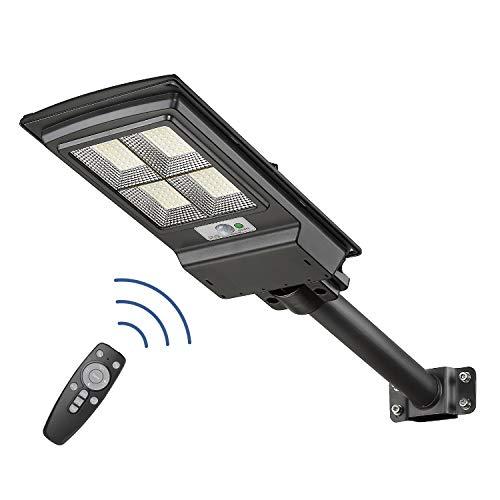 100W Solar Powered Outdoor Lights, Street Lights Dusk to Dawn Motion Sensor Remote Control IP65 Waterproof, SolarPoleLights for Garden Yard Driveway, KH-YT100-2