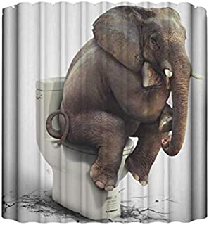 Cartoon Printed Elephent Polyester Shower Curtain Waterproof Home Bathroom Curtains 3D Thicken Shower Curtains