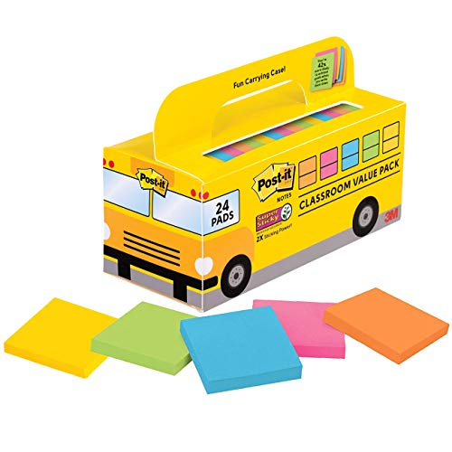 Post-it Super Sticky Notes, 3x3 inches, 24 Pads, Convenient School Bus Carry Case, 2X The Sticking Power, 3 in. x 3 in, Bright Colors (Orange, Pink, Blue, Green, Yellow), Recyclable (654-24SSBUS)