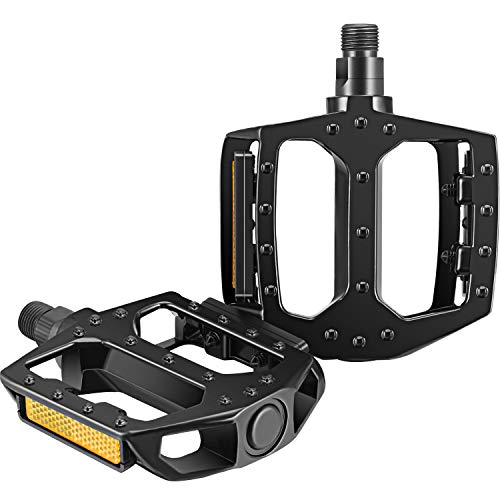 Bicycle Pedals Aluminum Alloy Non-Slip Bicycle Pedals Bicycle Platform Pedals Mountain Road Bike Pedals 9/16 Inch Boron Steel Spindle for BMX/MTB