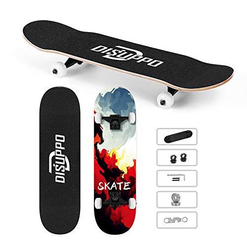 DISUPPO skateboard per principianti, skateboard completo 31 'x 7.8' Pro, 7 strati acero doppio calcio concavo standard e tricks per bambini e ragazzi (Skybrush)