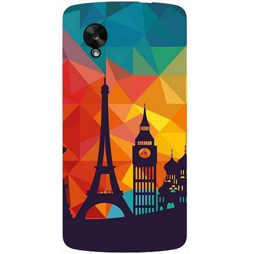 Casotec Colored Paris Design Hard Back Case Cover for LG Google Nexus 5