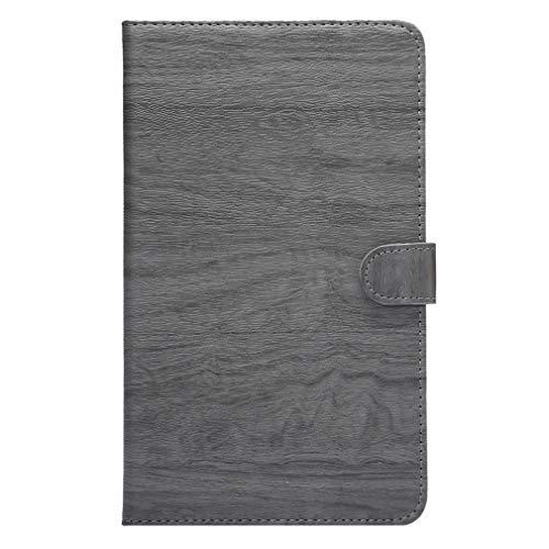LMFULM® Hülle für Huawei MediaPad M2 801W / 803L (8,0 Zoll) PU Lederhülle Smart Hülle mit Auto Schlaf/Wach Cover Ständer Schutzhülle Flip Cover für Huawei M2 Holz Grau