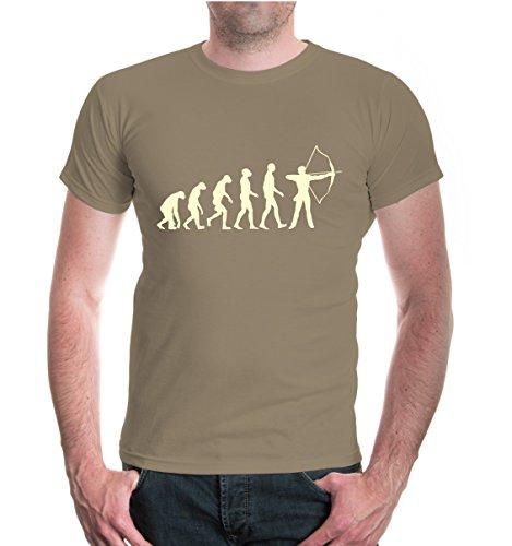 buXsbaum® Herren Unisex Kurzarm T-Shirt Bedruckt The Evolution of Archery | Bogenschießen Pfeil Bogen | L Khaki-beige Beige