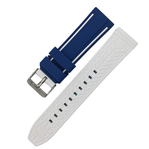 DLDQMY Correa de silicona suave para reloj deportivo de 20 mm, 22 mm, 24 mm, 26 mm, goma, impermeable, para hombres, correa de repuesto (color de la correa: azul blanco, ancho de la correa: 20 mm)