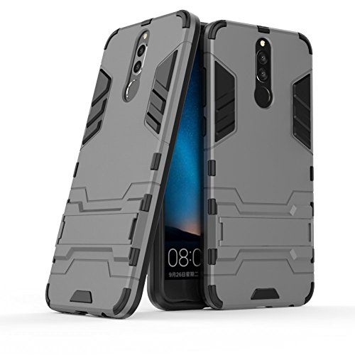 Hoesje voor Huawei Mate 10 Lite/Nova 2i / Honor 9i (5,9 inch Scherm) 2 in 1 Hybrid Rugged Schokbestendige Back Cover met Kickstand Hoes (Grijs)