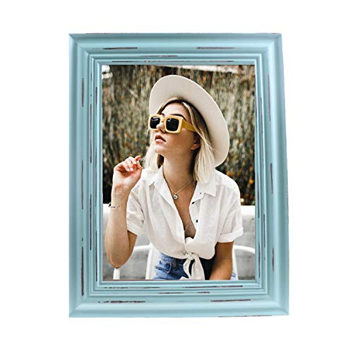 MUAMAX 5x7 Picture Frame Distressed Teal Rustic Wood Photo Frames 5 by 7 Turquoise Frames Weathered Photo Stand Tabletop/Wall Hanging(NOT Real Glass Cover)