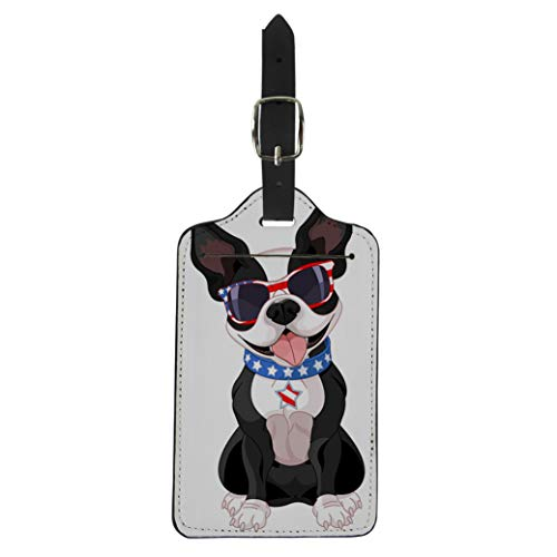 Pinbeam Luggage Tag 4Th of Cute Boston Terrier Celebrating July Dog Suitcase Baggage Label