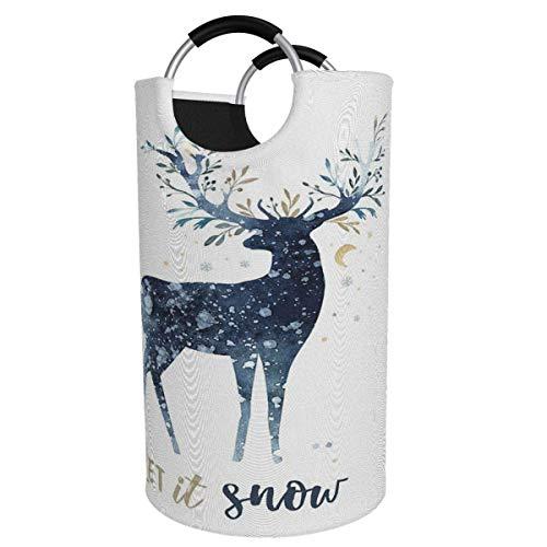 Cesto para la colada extragrande de 82 l, con asas de aluminio, diseño de ciervo navideño, para nieve, invierno, plegable, para ropa sucia, para habitación de dormitorio