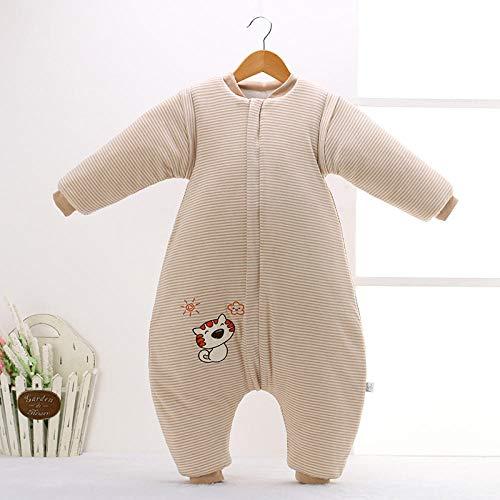 Unisex-baby-inbakerdekens, pasgeboren pyjama's voor kinderen, kleurrijke katoenen verwijderbare mouwen om schoppen te voorkomen-kaki kitten Lengte 85 cm, dikke warme slaapzak voor pasgeboren baby's