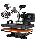 SURPCOS Heat Press Machine for T Shirts 5 in 1 Tshirt Printing Press Machine12'x15' Digital Tshirt Printer Sublimation Machine for T-Shirts Hat Mug Plate Cap Bottle with 360-Degree Swing Away Function