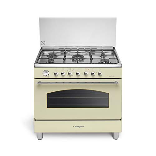 Cucina a gas con forno elettrico ventilato, N° 5 Fuochi, 90x60 cm, colore Crema