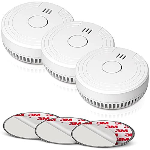 Smoke Alarm Fire Detector with Photoelectric Technology and Low Battery Signal (Battery Include), Fire Alarm with Test Function for Home, Bedroom, FJ136GB, 3 Packs