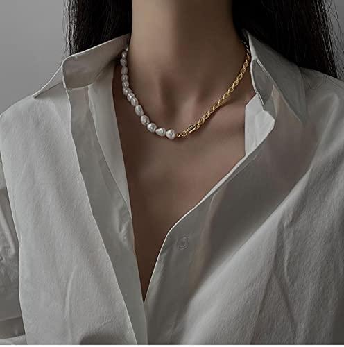 Vibner Collar Elegante Joyería De Latón para Mujer Collares De Perlas Naturales con Junta Trenzada De Metal Elegante para Mujer Cadena Chapada En Oro En El Cuello Gargantilla Pearlchain