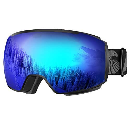 Alpseagle Skibrille, Snowboard Goggles mit Magnetische Wechselgläser für Damen Herren Unisex Brillenträger, OTG Anti-Fog UV Schutz Schneebrillen zum Skifahren