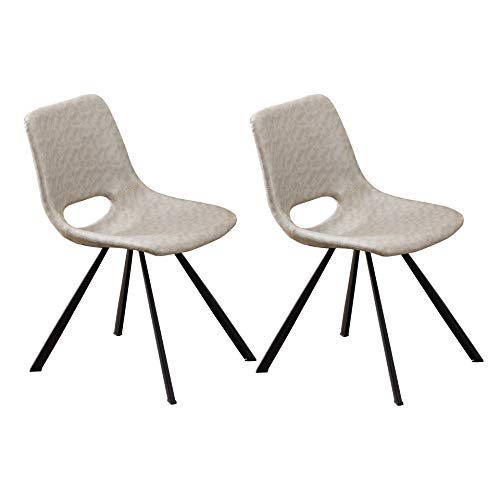 Leather Upholstered Dining ChairsPerHome Modern Mid Century Side Chair with Metal Legs for Kitchen Room Dining Room Living Room Bedroom ChairsSet of 2 Grey