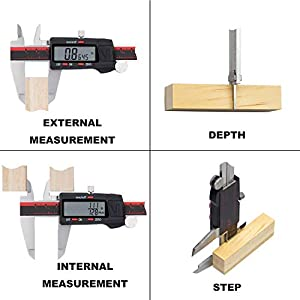 VINCA DCLA-0605 Quality Electronic Digital Vernier Caliper Inch/Metric/Fractions Conversion 0-6 Inch/150 mm Stainless Steel Body Red/Black Extra Large LCD Screen Auto Off Featured Measuring Tool
