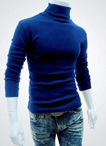 JFHGNJ Winter Warm Coltrui Mannen Mode Effen Gebreide Heren Truien Casual Slim Fit Trui Mannelijke Dubbele Kraag-Blauw_XL