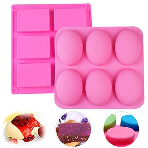 6 Hohlräume Silikonform Seifenform, Oval und Rund Silikon Rechteckig Seife Formen für handgemachte Seife 6 Hohlgabel Ei Design Pink Farbe Soap Molds 2 Stück