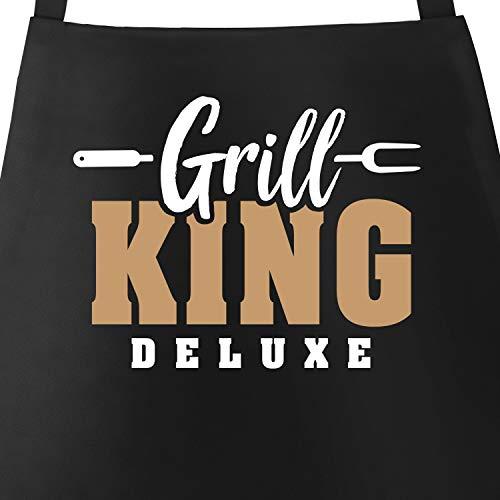 MoonWorks® Grill-Schürze für Männer mit Spruch Grill-King Deluxe Grillschürze Herren Baumwoll-Schürze Küchenschürze Color schwarz Unisize