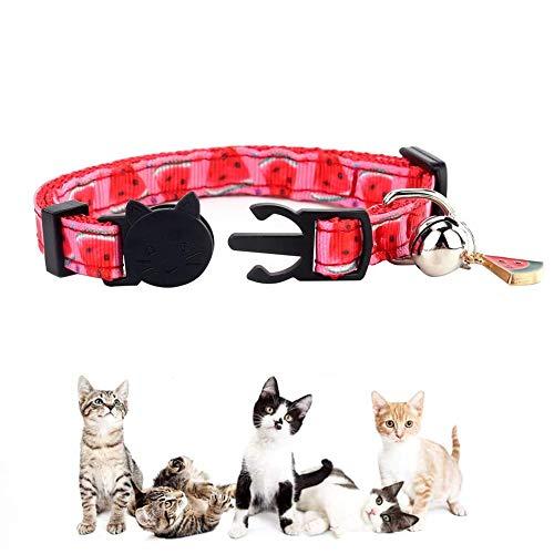 Moligin Collar para Perro Breakaway Pulga del Gato De La Cinta Collar Gatito Ajustable Collar del Gato Tracker con Cadencia De Timbre De La Sandía por Los Gatitos del Gato