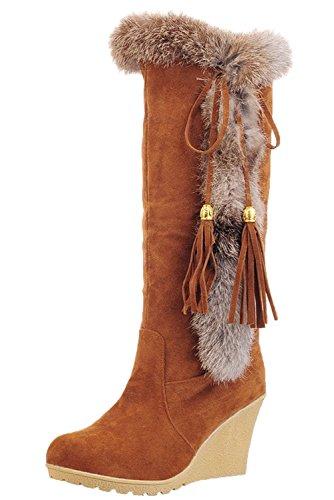 Botas de Nieve Mujer Cómodo Cuña Borlas Invierno Calientes Piel de Conejo Botas de Media Caña De BIGTREE Marrón 37 EU