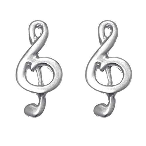 Orecchini a bottone Argento Sterling a forma di chiave di violino