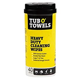 "Tub O Towels Heavy-Duty 7"" x 8"" Size Multi-Surface Cleaning Wipes, 40 Count Per Canister 2 7 x 8 inch heavy duty wet cleaning wipes for hands, tools and most surfaces. The strongest disposable wet towel cleaning wipe. Waterless cleaning for hands and most surfaces Removes heavy stains others won't including: grease, oil, tar, dirt, ink, paint, brake dust, permanent marker, crayon, wax, scuffs, lipstick, adhesives and decals, caulks and silicones, epoxy, nail polish, food, bugs and bird messes, drinks, pet stains and more These Moist Towels are gentle on hands and Environmentally Friendly. Contain lanolin, Aloe Vera, and Vitamin E"