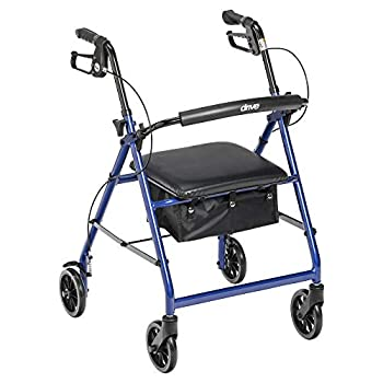 Drive Medical Aluminum Rollator Walker Fold Up and Removable Back Support Padded Seat 6  Wheels Blue