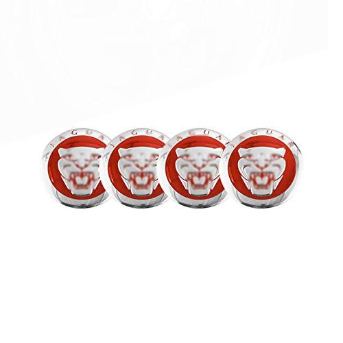 4 Uds 59mm Tapas de Cubo de Centro de Rueda de Coche de Metal Logotipo de Insignia de Tapa Central de Rueda, para Accesorios de Coche J-aguar XJ XF XK,Rojo