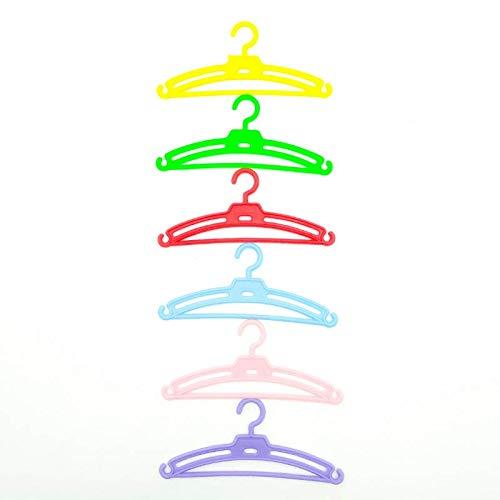 Folk Artesanía Lote 12 Perchas para Ropa muñecas Tipo Nancy Famosa en Color Blanco, Rosa, Rojo, Azul, Amarillo y Verde. Válido para Sintra, Noa, Barbie