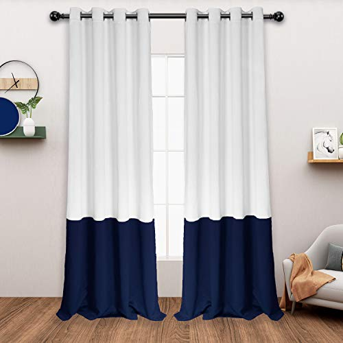 LORDTEX Color Block Blackout Curtains for Bedroom – Insulated Thermal Curtains, Noise and Sun Light Blocking Grommet Window Drapes for Living Room, 52 x 84 Inch, Grayish White/ Navy, Set of 2 Panels