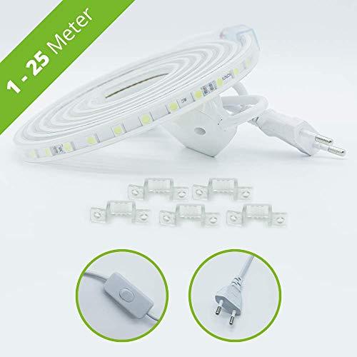 HAGEMANN® LED Streifen mit Schalter – IP65 5050 Lichtleiste – LED Strip 230V (1 Meter, kaltweiß)