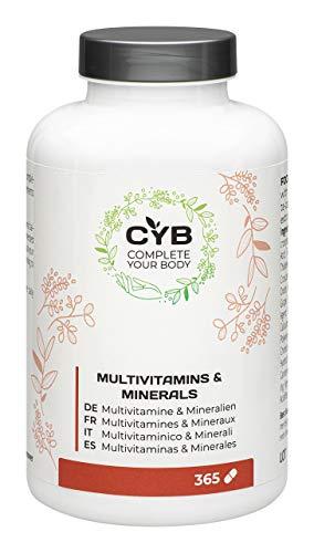 CYB Multivitamine und Mineralien – Mit Vitamin A, C, D und mehr – Vegetarisch – 1 x 365 Tabletten