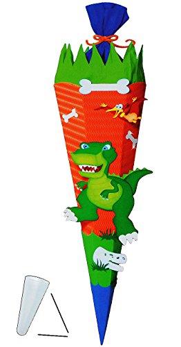 alles-meine.de GmbH BASTELSET Schultüte -  Dinosaurier - Dino  - 85 cm - mit / ohne Kunststoff Spitze - Zuckertüte zum selber Basteln - 6 eckig / orange - Jungen - Saurier T-Re..