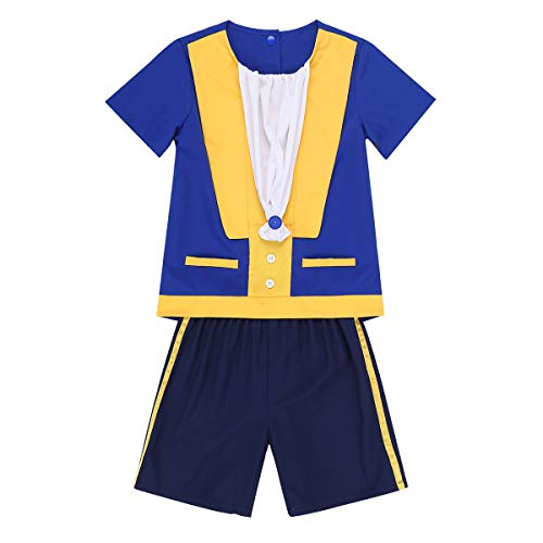 MSemis Toddler Baby Boys Fairy Tale Prince Costume Short Sleeve T Shirts with Shorts Halloween Outfit Blue 18-24 Months