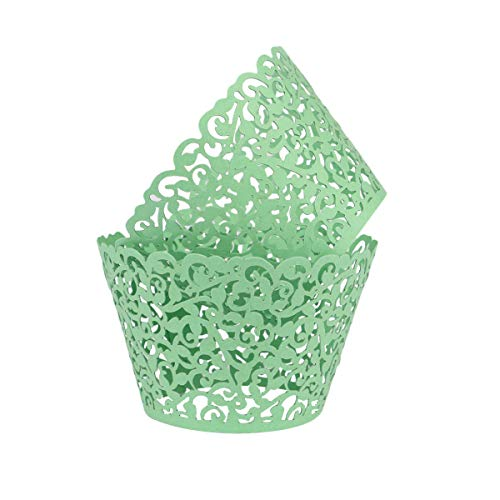 Lace Cupcake Wrappers,DriewWedding 100pcs Artistic Bake Cake Paper Filigree Little Vine Lace Laser Cut Liner Bake Cake Paper Cups Baking Cake Cup Wraps Muffin CaseTrays- Green