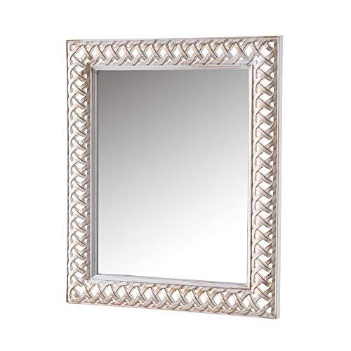 Espejo de Pared Trenzado Luxury Blanco y Dorado de Polipropileno, de 47x3x58 cm - LOLAhome