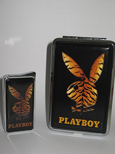 Schlankes Playboy Feuerzeug / Zigarettenetui Set im Serengeti-Design für bis zu 12 Zigaretten A3