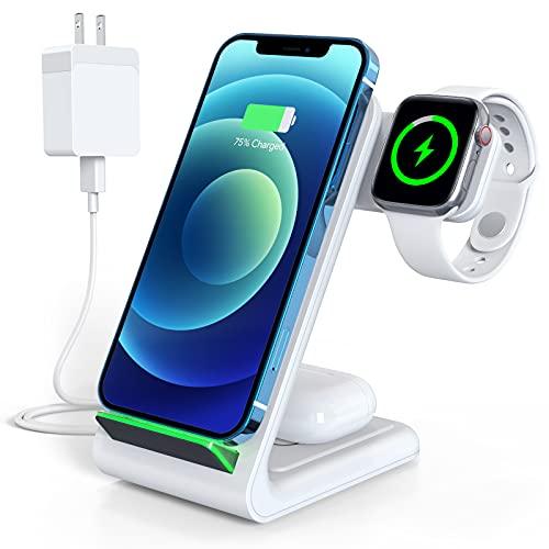 【2021最新進化版】Aouevyo 3in1 ワイヤレス充電器 Qi認証 15W急速 置くだけ充電 Apple Watch充電 Airpods充電 スマホ iPhone 12 / 12pro / 12 pro max /12 Mini / 11 / 11pro / 11 promax / Xs / X / XR / 8 / Samsung S20 / S10 / S10+ / S9 / S9+ / S8 / S8+などqi機種対応 QC3.0充電器付属 ホワイト