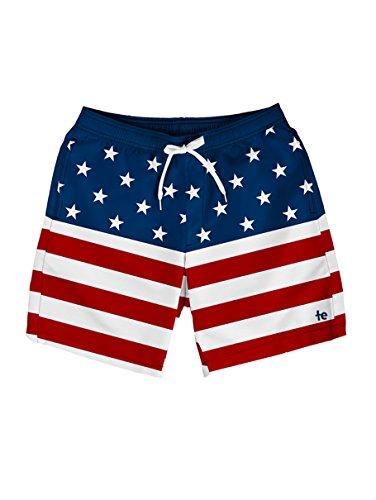 Tipsy Elves Herren Badehose mit amerikanischer Flagge – Patriotische USA Stars and Stripes Badeanzug - Blau - XX-Large