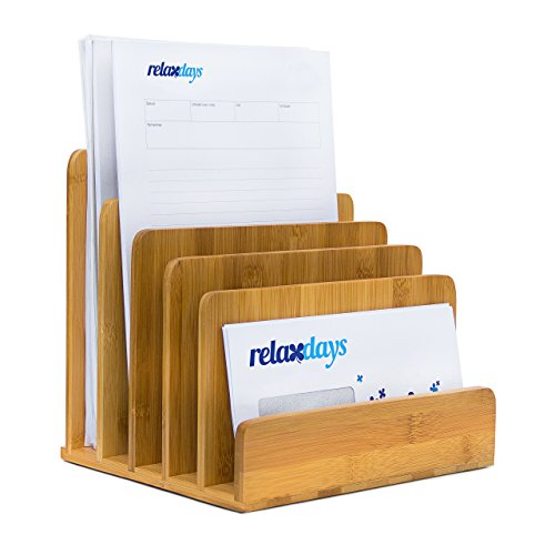 Relaxdays Dokumentenhalter Bambus, 5 Fächer, Prospekte, Zeitschriften, Briefablage, HBT: ca. 23 x 24,5 x 20,5 cm, Natur, 1 Stück