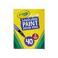 Crayola Paint Brush Pens, Washable Paints, 8 Colors, 40 Count