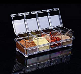 Seasoning Box - 4 Pieces, Acrylic Kitchen Seasoning Storage Box Can be Moved Separately.