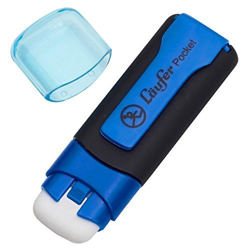 Läufer 69245 Pocket, Radierstift in Markerform, mit Schutzkappe und Clip, blau, 1 Radiergummi