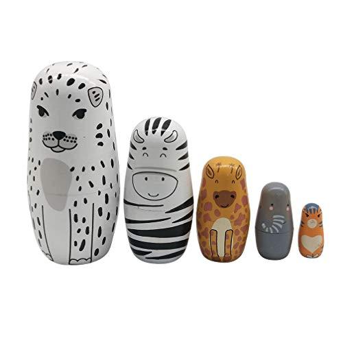 TOYANDONA 5 stücke Tier Nesting Puppe, 5 Schichten Holz russische Matryoshka Puppen niedlichen Cartoon Tiere Muster Nesting Puppe Spielzeug für Kinder Geschenk