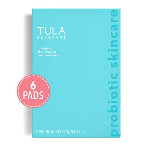 TULA Probiotic Skin Care Dual-Phase Skin Reviving Treatment Pads (6 Pads) | Lactic Acid Pads To Exfoliate And Brighten Skin, Instant Facial